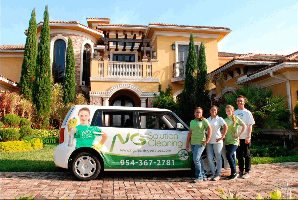 A NG Solutions cleaning crew with the company car
